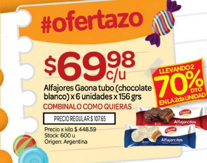 Josimar Alfajores Gaona Tubo Chocolate Blanco Llevando2 70% Dto En La 2da Unidad