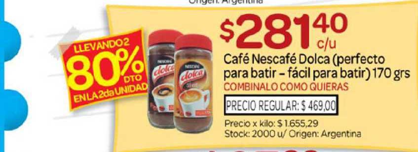Josimar Café Nescafé Dolca Perfecto Para Batir Fácil Para Batir Llevando2 80% Dto En La 2da Unidad
