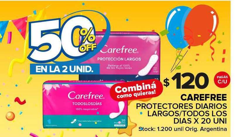 Carrefour Maxi Carefree Protectores Diarios Largos Todos Los Dias 50% Off En La 2 Unid.