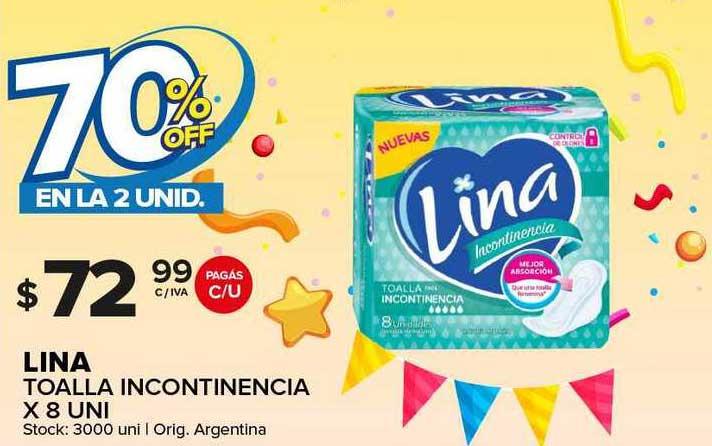 Carrefour Maxi Lina Toalla Incontinencia X 8 70% Off En La 2 Unid.