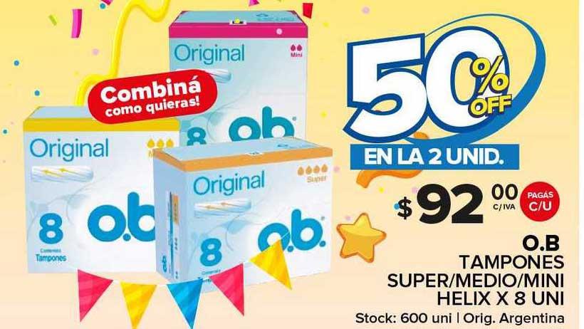 Carrefour Maxi O.b Tampones Super Medio Mini Helix 50% Off En La 2 Unid.