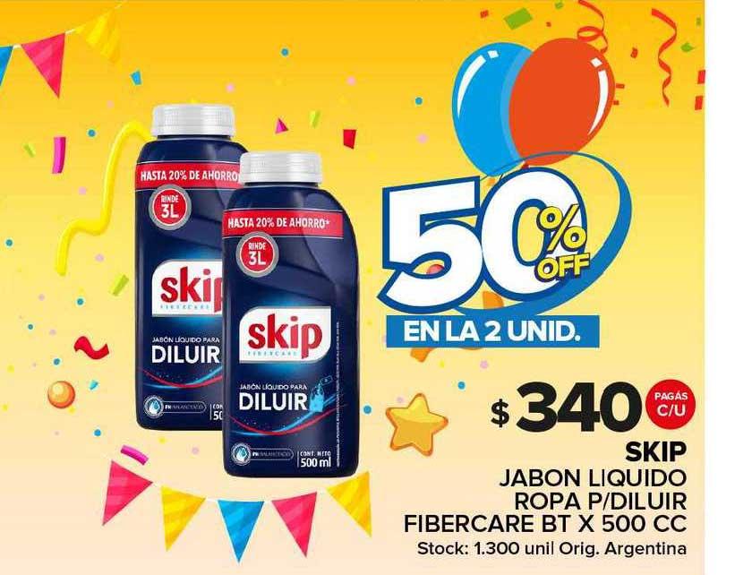 Carrefour Maxi Skip Jabon Liquido Ropa P Diluir Fibercare Bt 50% Off En La 2 Unid.