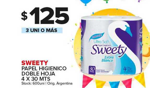 Carrefour Maxi Sweety Papel Higienico Doble Hoja 4 X 30 Mts