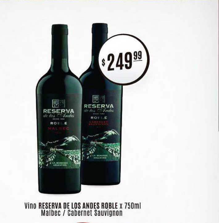 Arcoiris Supermercados Vino Reserva De Los Andes Roble Malbec Cabernet Sauvignon