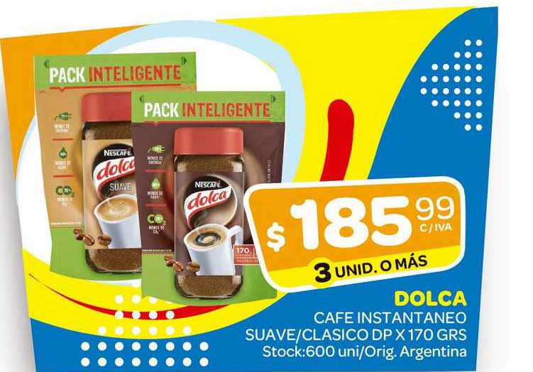 Carrefour Maxi Dolca Cafe Instantaneo Suave-Clasico DP X 170 GRS