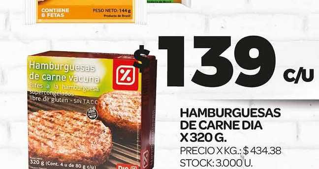 Supermercados DIA Hamburguesas De Carne Dia X 320 G.