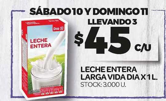 Supermercados DIA Leche Entera Larga Vida Dia X 1 L.