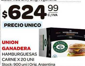 Carrefour Maxi Union Ganadera Hamburguesas Carne X 20 UNI