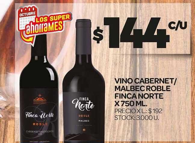 Supermercados DIA Vino Cabernet-Malbec Roble Finca Norte X 750 ML.