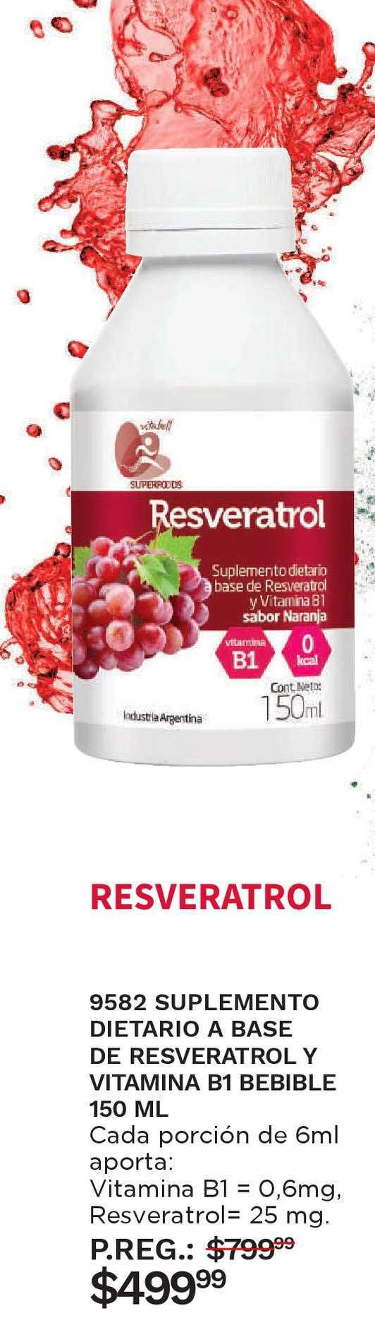 Arbell 9582 Suplemento Dietario A Base De Resveratrol Y Vitamina B1 Bebible