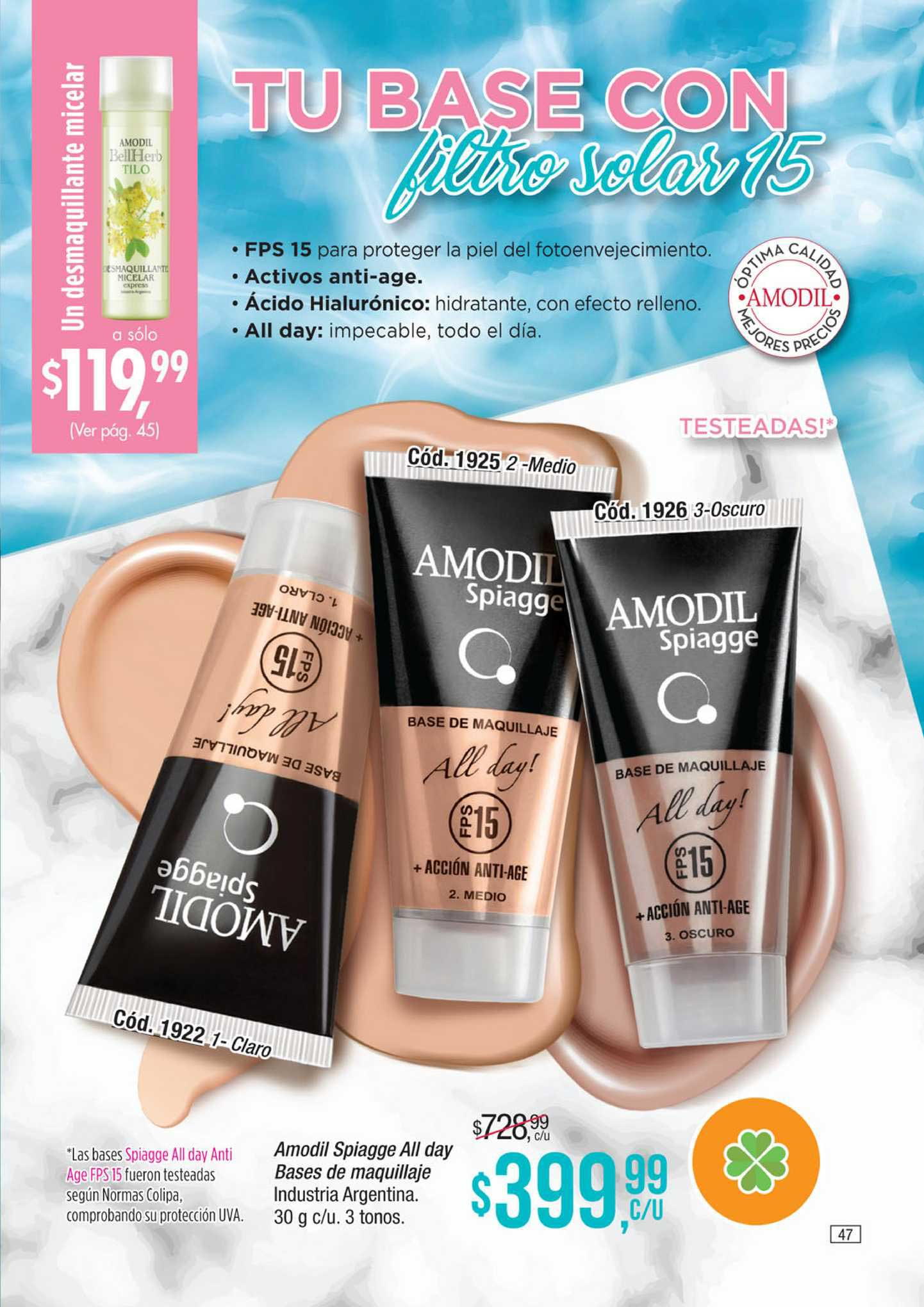 Amodil Amodil Spiagge All Day Bases De Maquillaje Industria Argentina