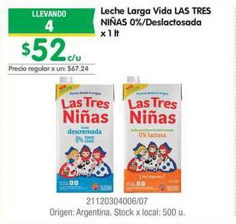 Jumbo Leche Larga Vida Las Tres Niñas 0% Deslactosada