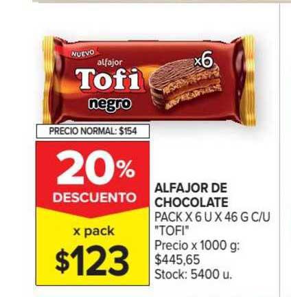Carrefour Market Alfajor De Chocolate Pack X 6 U X 46 G C-U