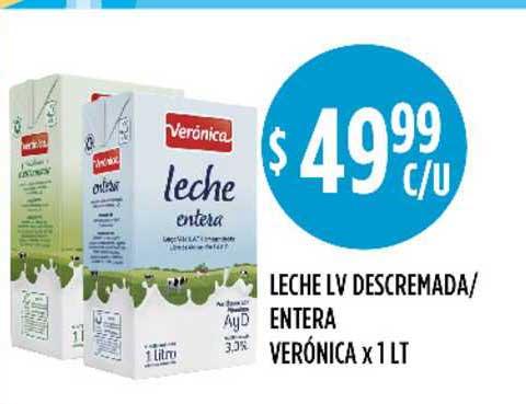 Supermercados Toledo Leche LV Descremada-entera Verónica X 1lt