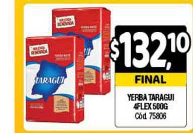 Supermercados Yaguar Yerba Taragui 4flex 500g