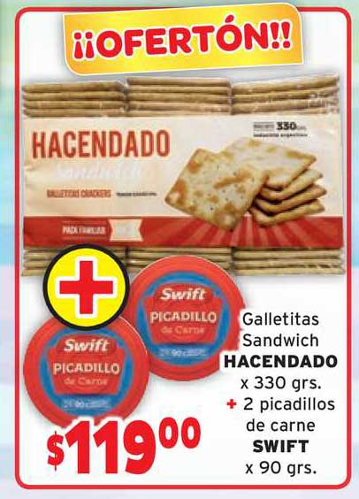 Único Supermercados Galletitas Sandwich Hacendado X 330 Grs. + 2 Picadillos De Carne Swift X 90 Grs.