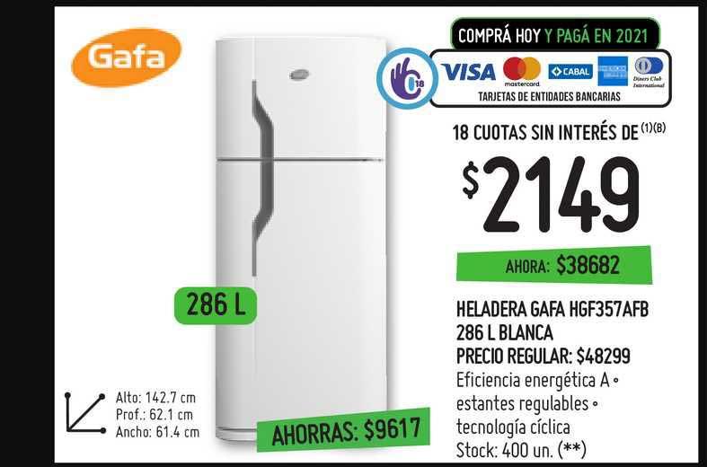Changomas Heladera Gafa HGF357AFB 286 L Blanca