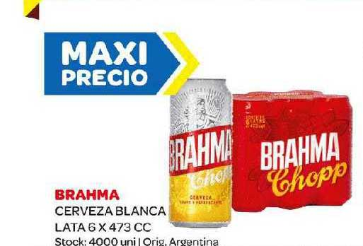 Carrefour Maxi Brahma Cerveza Blanca Lata 6 X 473 CC