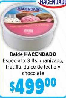 Único Supermercados Balde Hacendado Especial X 3 Lts. Granizado, Frutilla, Dulce De Leche Y Chocolate