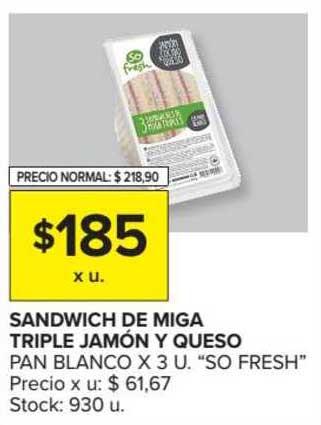 Carrefour Market Sandwich De Miga Triple Jamón Y Queso Pan Blanco