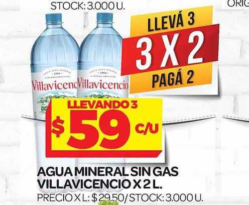 Supermercados DIA Agua Mineral Sin Gas Villavicencio X 2 L.