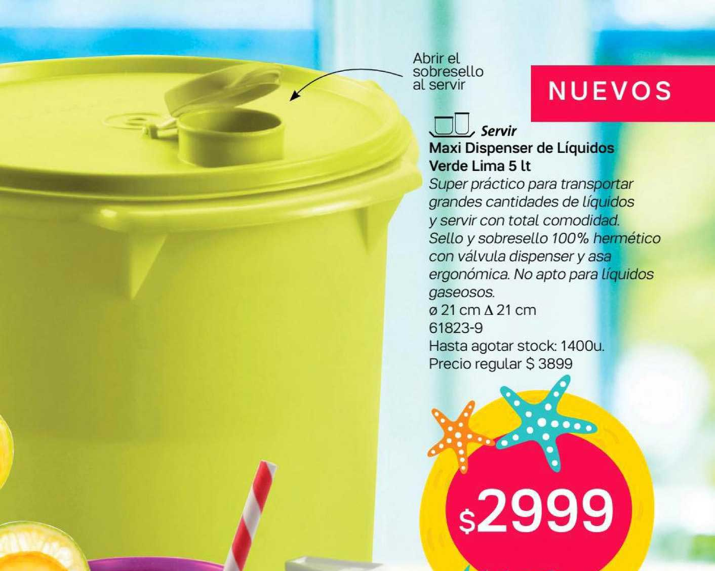 Tupperware Maxi Dispenser De Líquidos Verde Lima 5 Lt
