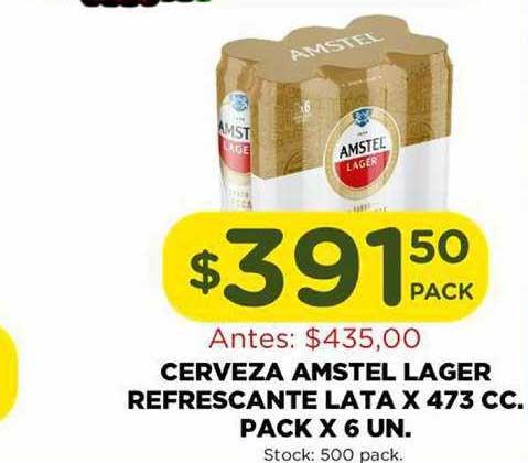 Super Mami Cerveza Amstel Lager Refrescante Lata X 473 Cc. Pack X 6 Un.