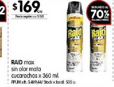 Disco Raid Max Sin Olor Mata Cucarachas Segundo Al 70%dto