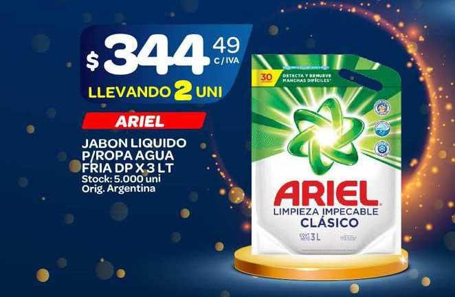 Carrefour Maxi Ariel Jabon Liquido P-Ropa Agua Fria DP X 3 LT
