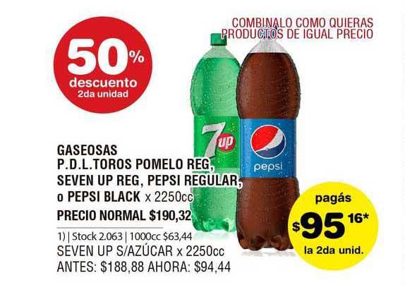 ATOMO Conviene Gaseosas P.D.L. Toros Pomelo Reg, Seven Up Reg, Pepsi Regular, O Pepsi Black