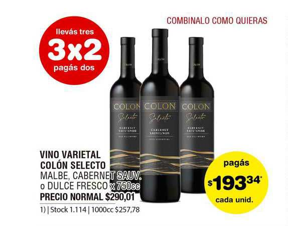ATOMO Conviene Vino Varietal Colón Selecto Malbe, Cabernet Sauv. O Dulce Fresco