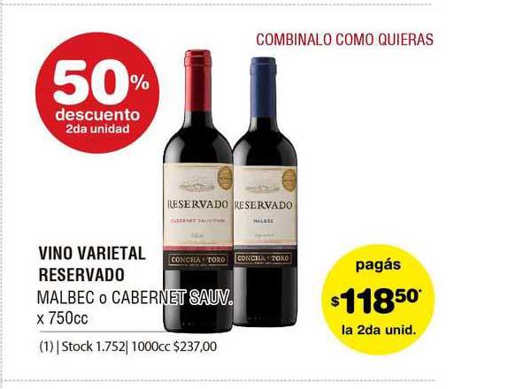 ATOMO Conviene Vino Varietal Reservado Malbec O Cabernet Sauv.