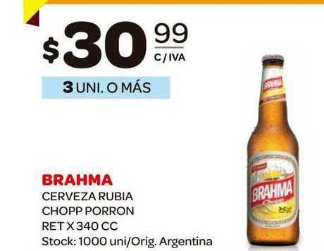 Carrefour Maxi Brahma Cerveza Rubia Chopp Porron Ret X 340 CC