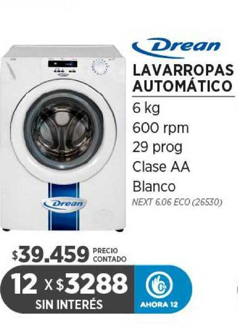 Genesio Hogar Drean Lavarropas Automático 6 Kg 600 Rpm 29 Prog Clase AA Blanco
