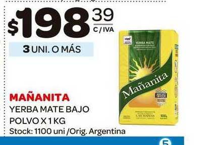 Carrefour Maxi Mañanita Yerba Mate Bajo Polvo X 1 KG