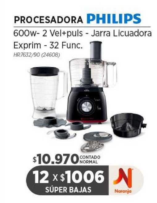 Genesio Hogar Procesadora Philips 600w- 2 Vel+puls - Jarra Licuadora Exprim -32 Func.