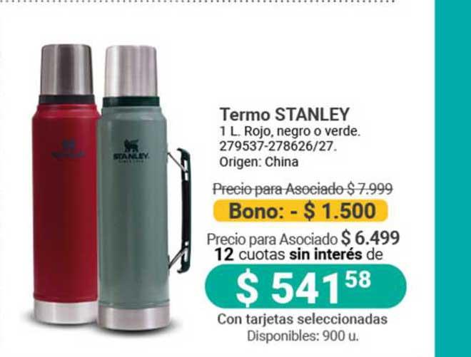 Cooperativa Obrera Termo Stanley 1 L. Rojo, Negro O Verde.