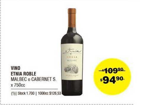 ATOMO Conviene Vino Etnia Roble Malbec O Cabernet S. X 750cc