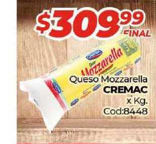 Diarco Queso Mozzarella Cremac X Kg.