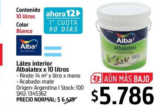 Sodimac Alba Látex Interior Albalatex X 10 Litros
