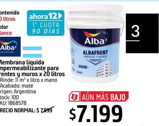 Sodimac Alba Membrana Líquida Impermeabilizante Para Frentes Y Muros X 20 Litros