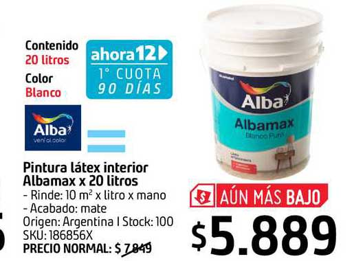 Sodimac Alba Pintura Látex Interior Albamax X 20 Litros