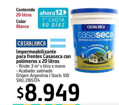 Sodimac Casablanca Impermeabilizante Para Frentes Casaseca Con Polímeros X 20 Litros