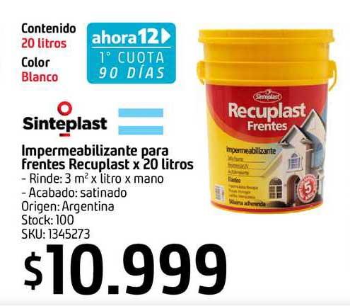 Sodimac Sinteplast Impermeabilizante Para Frentes Recuplast X 20 Litros