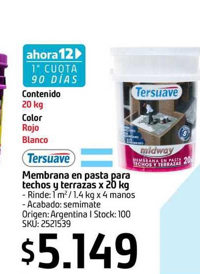 Sodimac Tersuave Membrana En Pasta Para Techos Y Terrazas X 20 Kg