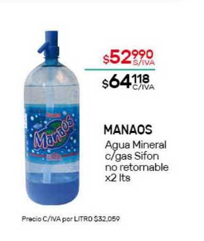 Nini Mayorista Manaos Agua Mineral C Gas Sifon No Retornable