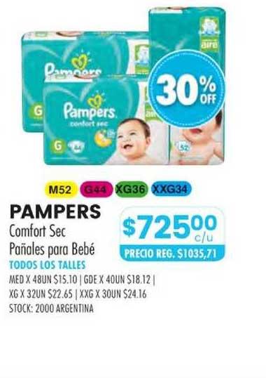 Pigmento Pampers Comfort Sec Pañales Para Bebé