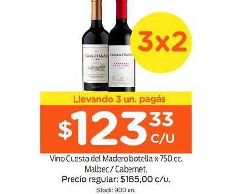 Super Mami Vino Cuesta Del Madero Botella X 750 Cc. Malbec - Cabernet.
