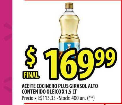 Punto Mayorista Aceite Cocinero Plus Girasol Alto Contenido Oleico X 1.5 LT