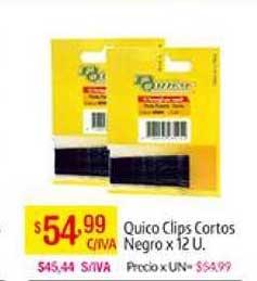 Medamax Quico Clips Cortos Negro X 12 U.